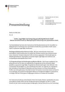 thumbnail of Pressemitteilung Bundesministerium f. Gesundheit zu NpSG