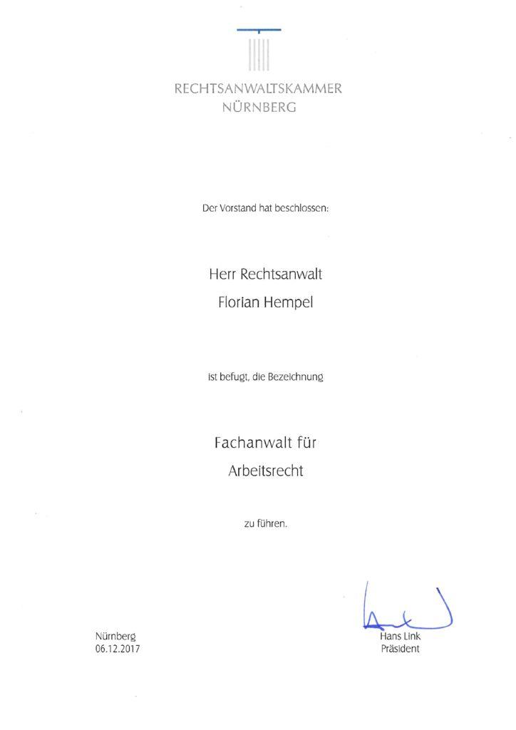 RA Florian Hempel zum Fachanwalt für Arbeitsrecht ernannt