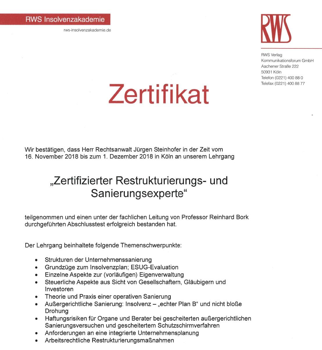 """""""Zertifizierter Restrukturierungs- und Sanierungsexperte"""" – RA Steinhofer"""