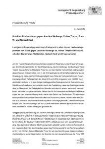 thumbnail of Pressemitteilung 2019-7 Kurzversion Urteil im Strafverfahren gegen Joachim Wolbergs, Volker Tretzel, Franz W. und Norbert Hartl